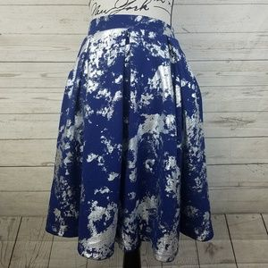 LulaRoe Madison Blue Foil Elegant Collection Skirt